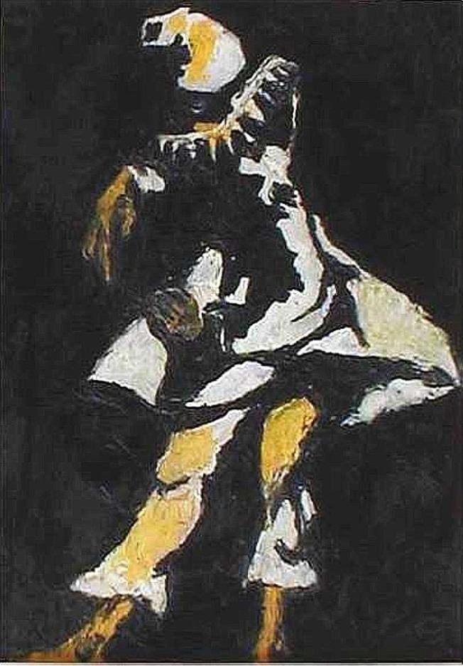 1956 - Pulcinella, olio su cartone telato, cm.45x35
